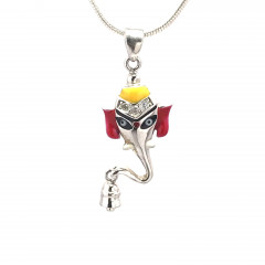 Religious Lord Ganesha 925 Silver Pendant-gd003