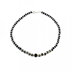 92.5 silver anket with black beads