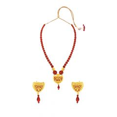 Artistic Red Onyx Thewa Jewellery Necklace Set