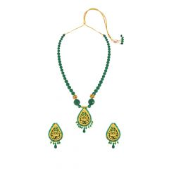 Enchanting Green Onyx Thewa Jewellery Necklace Set