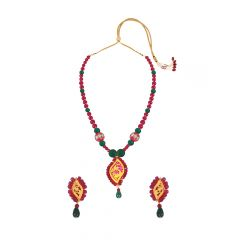 Innovative Green Red Onyx Thewa Jewellery Necklace Set