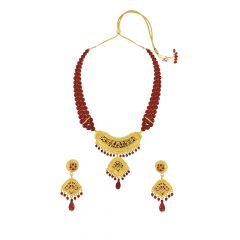 Imperial Red Onyx Thewa Jewellery Necklace Set