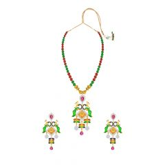Enrich  Peacock Onyx Thewa Jewellery Necklace Set