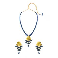 Fancy Blue Onyx Thewa Jewellery Necklace Set