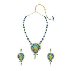 Creative Gemstone Thewa Necklace Set