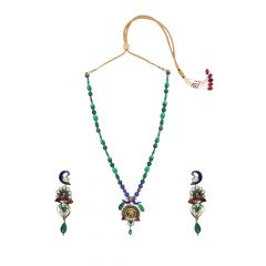 Alluring Peocock Gemstone Thewa Necklace Set