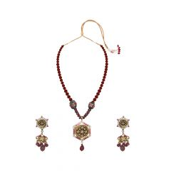 Gorgeous Gemstone Thewa Necklace Set