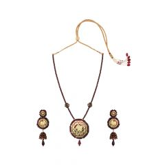 Lavish Elephant Design GemstoneThewa Necklace Set