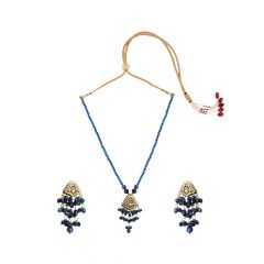 Heavenly  Blue Onyx Thewa Necklace Set