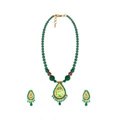 Artistic Green Onyx Thewa Necklace Set