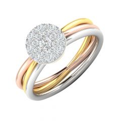 Vibrant Three Tone Cluster Diamond Ring