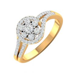 Sparkling Cluster Gold Diamond Ring