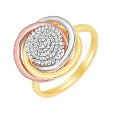Divine Interlinked Layered Cluster Gold Diamond Ring
