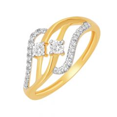 Trendy Wave Gold Diamond Ring