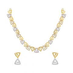Stylish Geometric Cutout Cluster CZ Gold Necklace Set