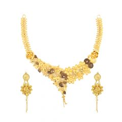 Blossom Floral Paisley Enamel Gold Necklace Set