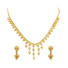 Traditional Textured Dangler Gold Necklace Set