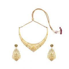 Trendy Cutout CZ Gold Necklace Set