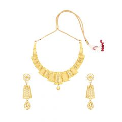 Classy Textured Geometrical Gold Necklace Set
