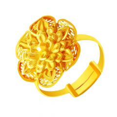 Bloom Floral Cutout Adjustable Office wear Gold Ring