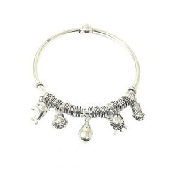 Delightful Charm Oxidized 925 Silver Bangle