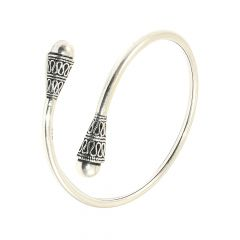 Trendy Conical Embossed Oxidized 925 Silver Flexi Bracelet