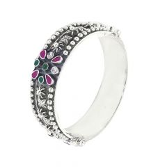 Stunning Gemstone Openable 925 Silver Bangle