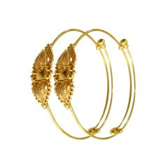 Traditional Textured Infant Adjustable Gold Bangles