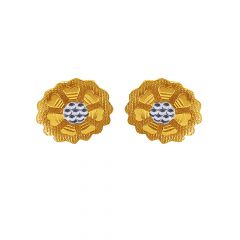 Classic Textured Rhodium Polish Floral Gold Earrings