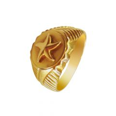 Traditional Embossed Star Textured Gold Ring For Him