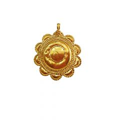 Traditional Textured Floral Infant Gold Pendant