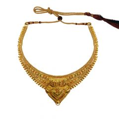 Traditional Textured Embossed Gold Necklace