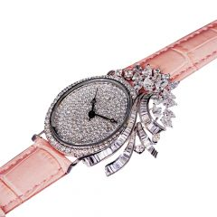 Trendy Glitter Diamond White Gold Watch