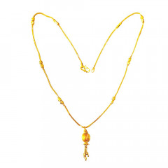 Traditional Textured Dangler Casual Wear Yellow Gold 22kt Chain Pendant -260-CHN0859