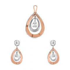 Trendy Drop CZ Diamond Rose Gold Pendant Set-UPS102