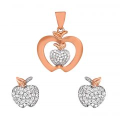 Sparkling Cluster Apple CZ Diamond Rose Gold Pendant Set-UPS212