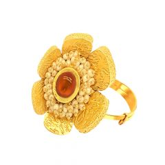 Ravishing Floral Pearl Gemstone Adjustable Gold Ring-URN497