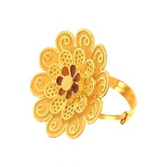 Elegant Cutout Three Layered Floral Adjustable Gold Ring-URN994