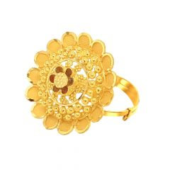 Traditioanl Floral Daily Wear Adjustable Gold Ring-URN996
