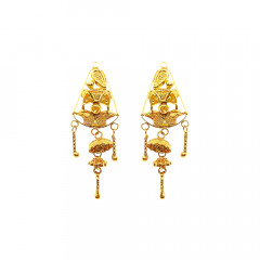 Unique Traditional Daily Wear Yellow Gold 18kt Earring-JNJ-087