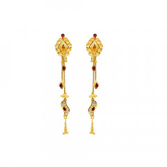 Traditional Traditional Daily Wear Yellow Gold 18kt Earring-JNJ-097
