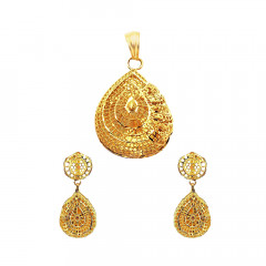 Traditional Daily Wear Yellow Gold 18kt Pendant Set-JNJ-151
