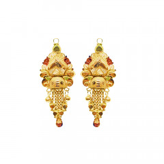 Traditional Textured Enamel Daily Wear Yellow Gold 18kt Earring-JNJ-162