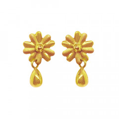 Elegant Floral Yellow Gold 18kt Earring-JNJ-182