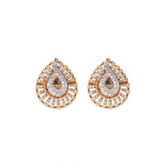 Glitz Swirl Cluster Diamond Gold Earring-ER11028