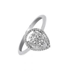 Drizzling Framing Drop Cluster Gold Diamond Ring-LR11088