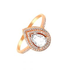Divine Framing Drop Rose Gold Diamond Ring-LR11183