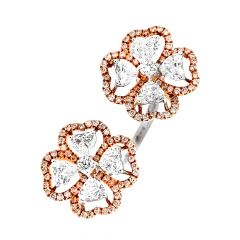 Floral Party Wear Rose Gold 18kt with undefined Rings-267-LR11231