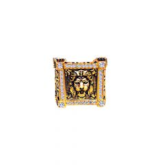 Classic Textured Lion Face CZ Gold Ring -RING004