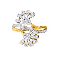 Glittering Floral Crisscross Diamond Ring  -LR-0388